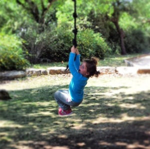 annie on rope swing