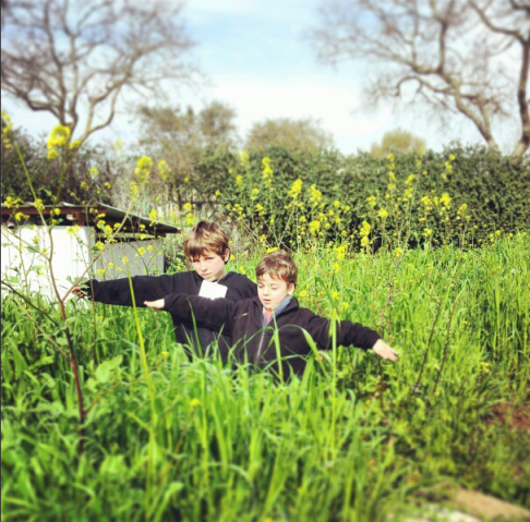 boys in the grass