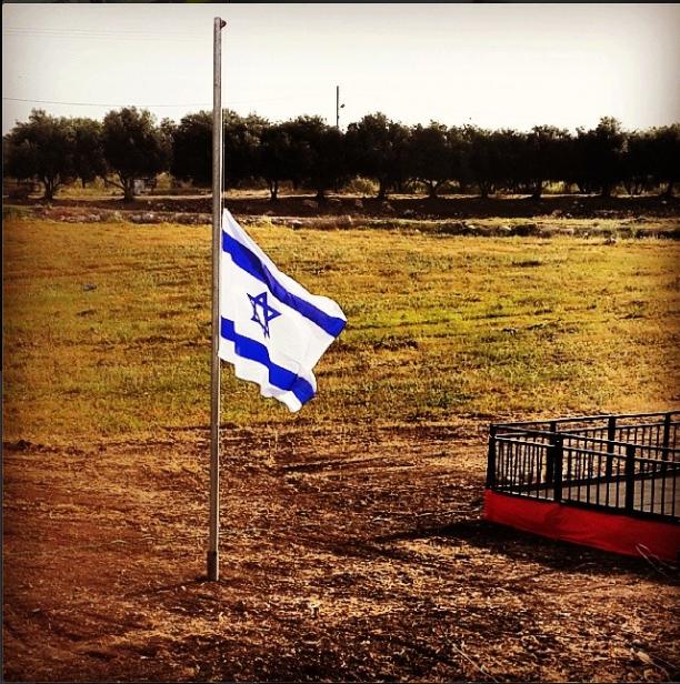the half mast flag on hannaton