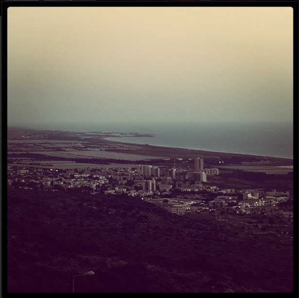 Haifa at dusk from Carmel Hospital