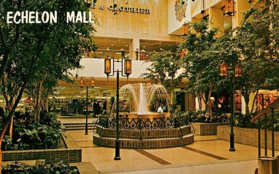 A vintage postcard of the Echelon Mall in front of Strawbridge & Clothier